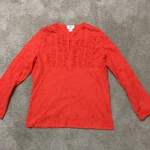 Tops - Orange cotton embroidered tunic, Sandy Starkman
